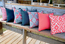 picture of coral and blue outdoor fabrics elegant and chevron patterns