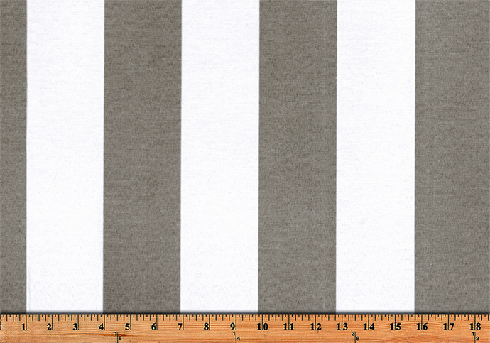 Photo of large grey repeating classic stripe pattern printed on white fabric