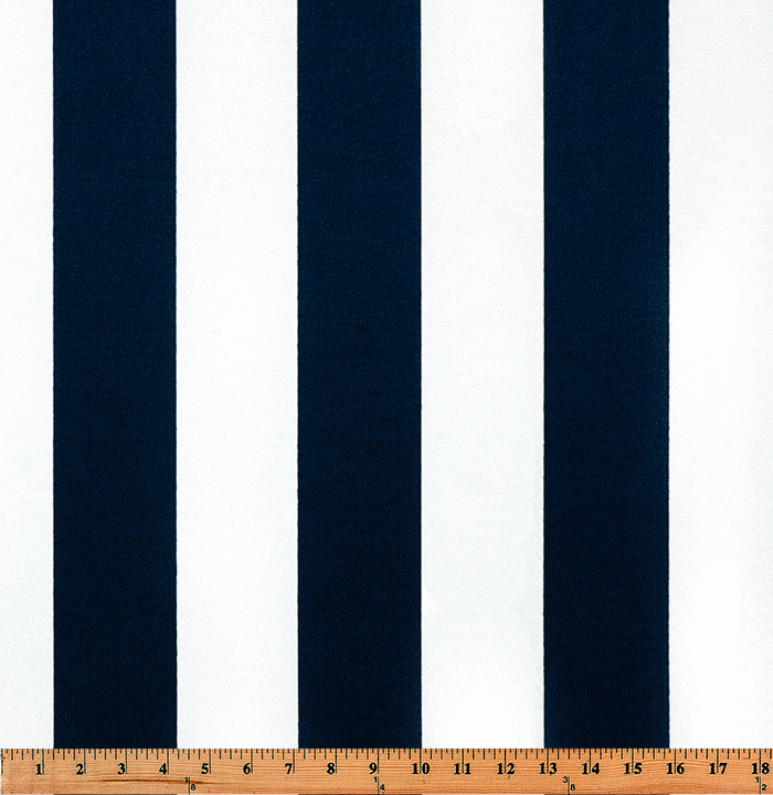 Photo of large blue repeating classic stripe pattern printed on white fabric