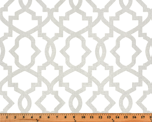 Photo of a grey geometric trellis pattern printed on white fabric