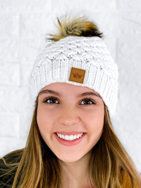 White Knitted Beanie with Pom