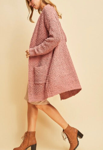 Dusty Rose Popcorn Cardi