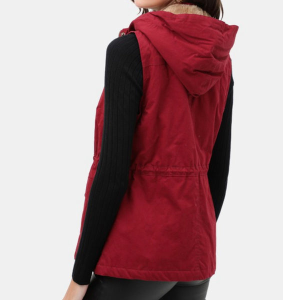 Wine Hooded Vest