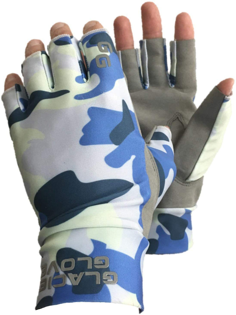 Glacier Ascension Bay Sun Glove, Blue Camo-Xlarge XL