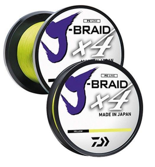 Daiwa J Braid 4 Weave Braided Line 150-300yd Blue/Green 3000yd Yellow
