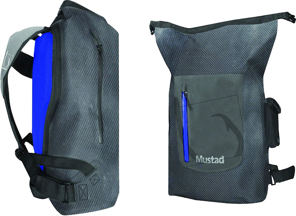 Mustad Dry Backpack 30 Liter Side Access, Dark Grey/Blue 500D Tarpaulin PVC