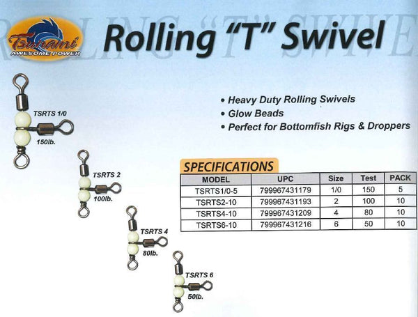 Tsunami Stainless 3-Way Beaded Rolling T Swivel TSRT