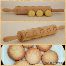 Embossing wooden rolling pin for dog's paw cookies and a gift with purchase.