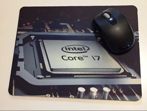 Printed mouse pad with INTEL.