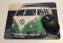 Printed mouse pad with a hippy van, volkswagen t1.