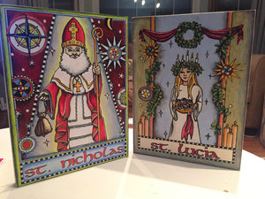 St. Nicholas and St. Lucia Coloring NicheBoards