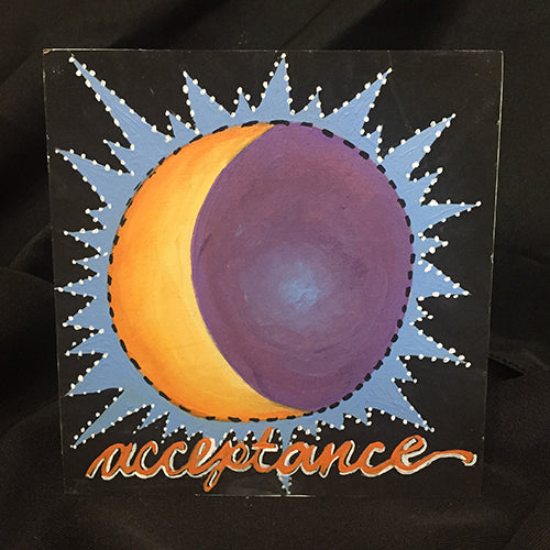 Acceptance NicheBoard finished painted radiant sun crescent moon yellow, purple, blue black background