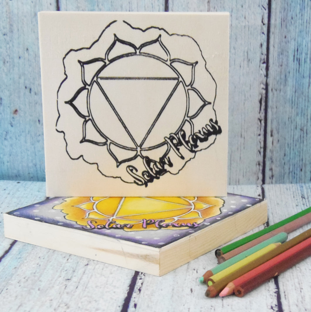 "Coloring Chakra Solar Plexus Mystic Themed| 6"" x 6"" Wooden Board or Kit"