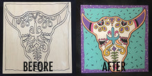 "Thatartgirl 6x6"" DIY Unpainted Wood Panel: Sugar Skull Bull (Before and After)"