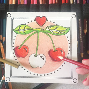 In progress cherry NicheBoard with colored pencil background
