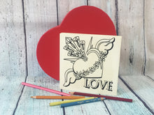 Love Sacred Winged Coloring Board with Heart Shaped Box