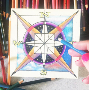 in progress Compass Nicheboard variety of skies in colored pencil