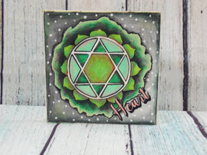 "Coloring Chakra Heart Mystic Themed| 6"" x 6"" Wooden Board or Kit"