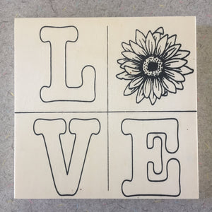 Unfinished LOVE Quad Sunflower NicheBoard paint or color yourself