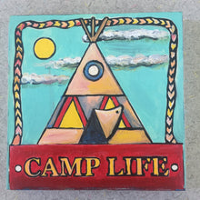 Camp Life Wigwam NicheBoard painted finished sample aqua, red, yellow, tan