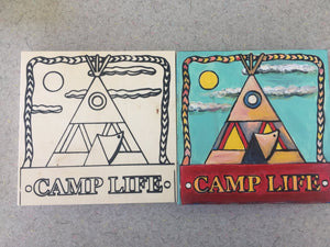Before and after Camp Life Wigwam finished unfinished side by side