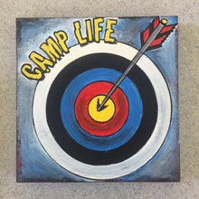 Camp Life Archery finished painted red, blue, black, yellow flat lay