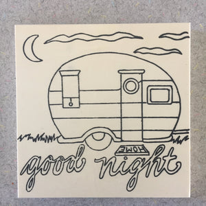 Unfinished Good Night Camper NicheBoard add paint colored pencil