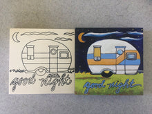 Before after Good Night Camper finished unfinished side by side