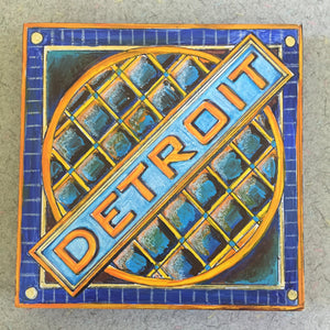 Detroit Manhole NicheBoard painted finished blue, orange, grey