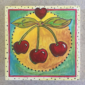 Cherry NicheBoard finished painted red, yellow, green