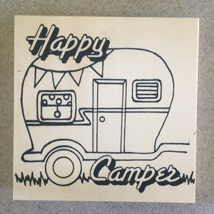 Unfinished Happy Camper NicheBoard add colored pencil paint