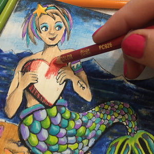 "6x6"" Paint and/or Coloring NicheBoard: Mermaid 1"