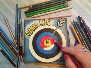 In progress Camp Life Archery NicheBoard with colored pencil background