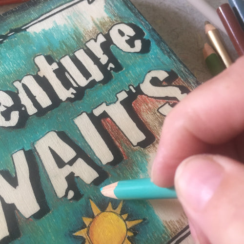 Close-Up Adventure Awaits NicheBoard artist working in colored pencil