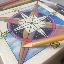 Close up Compass NicheBoard in progress colored pencil