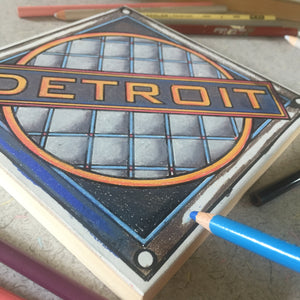 Detroit Manhole mid-process colored pencil