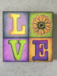 LOVE Quad Sunflower NicheBoard Finished sample in colored pencil yellow, green and violet