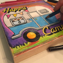 angled Happy Camper NicheBoard in progress