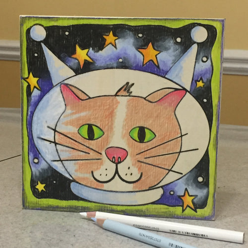 Cat in Space Coloring Board
