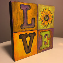 Standing LOVE Quad Sunflower Finished Sample Painted Yellow, Green Violet