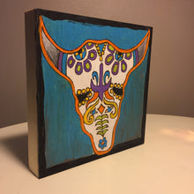 Bull Sugar Skull free standing painted sample on angle to show depth of product