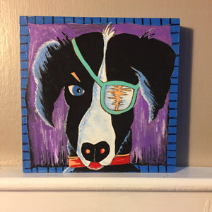 Black and White Dog with Eye Patch Patched Pooch NicheBoard Painted Sample purple Background