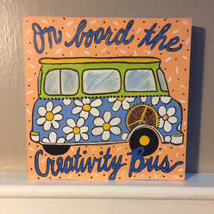 "Thatartgirl 6x6"" DIY Unpainted Wood Panel: Creativity Bus (Finished Sample)"