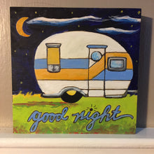 Good Night Camper finished painted sample black, white, blue, yellow