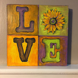 Painted Sample LOVE Quad Sunflower NicheBoard Yellow, Green, Violet