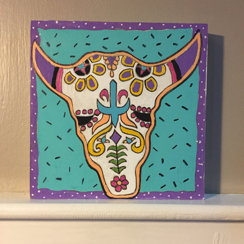 Bull Sugar Skull NicheBoard Finished Painted Sample aqua, white, violet