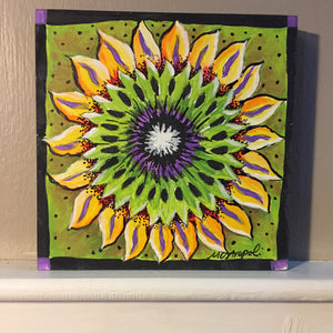 Sunflower NicheBoard painted finished sample yellow green purple black
