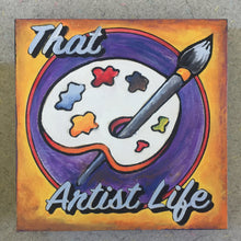 Painted finished sample That Artist's Life NicheBoard flat lay orange, red, purple, light blue