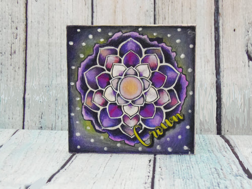 "Coloring Chakra Crown Mystic Themed| 6"" x 6"" Wooden Board or Kit"