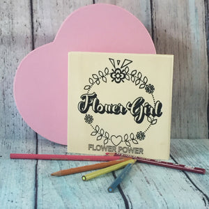 Flower Girl Coloring Board with Heart Shaped Box
